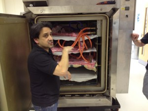 Vac bagged pre preg repairs going into the autoclave for curing