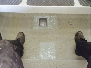 Bilge system complete and drain holes filled.