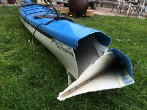 Sea kayak broke in two